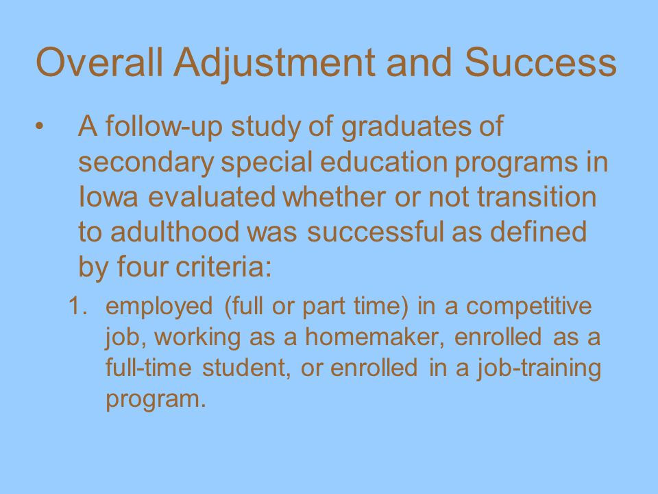 Overall Adjustment and Success