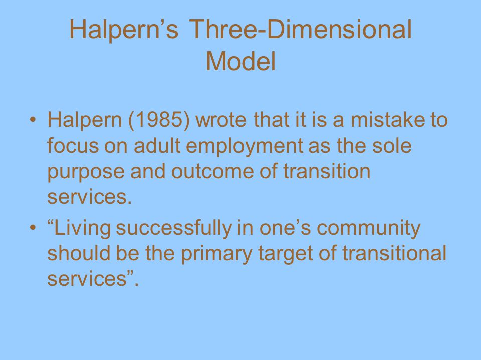 Halpern's Three-Dimensional Model