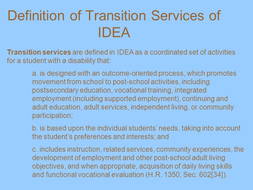 Definition of Transition Services of IDEA