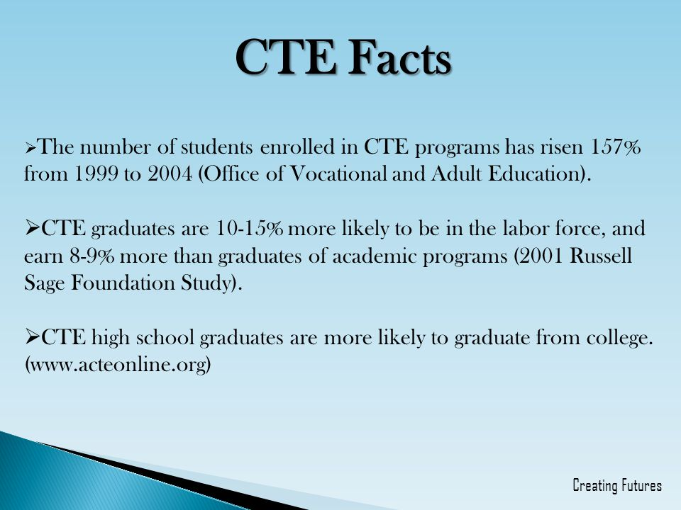 CTE Facts The number of students enrolled in CTE programs has risen 157% from 1999 to 2004 (Office of Vocational and Adult Education).