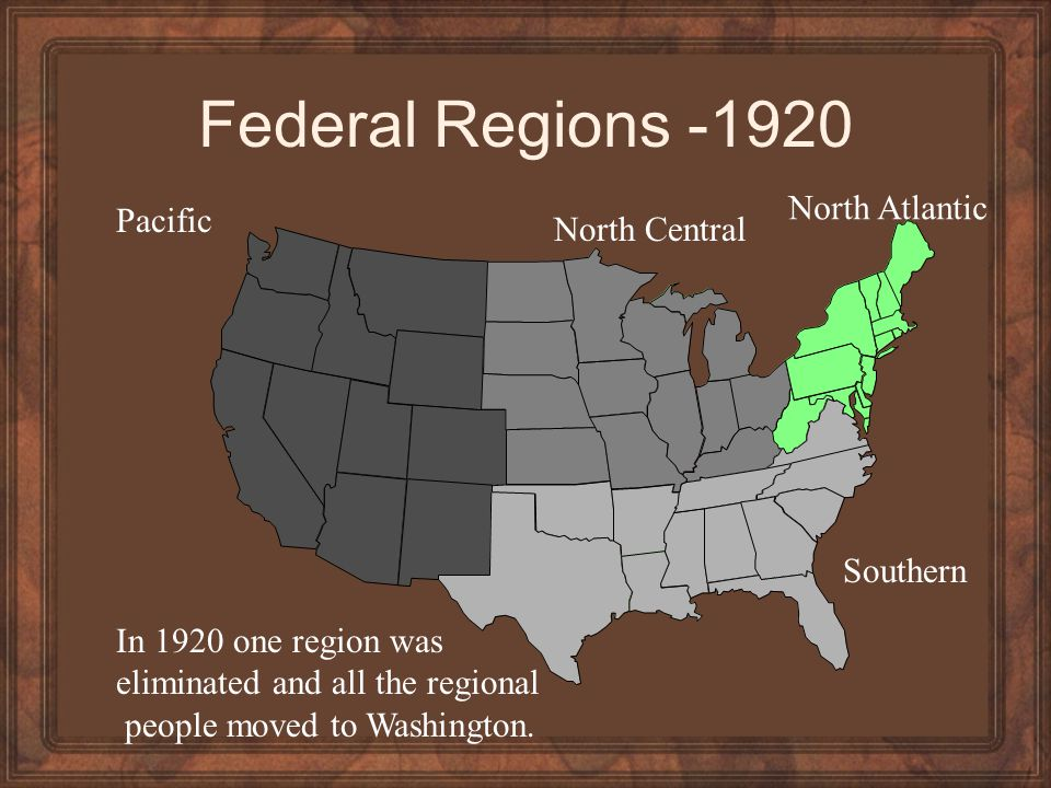 Federal Regions -1920 North Atlantic Pacific North Central Southern