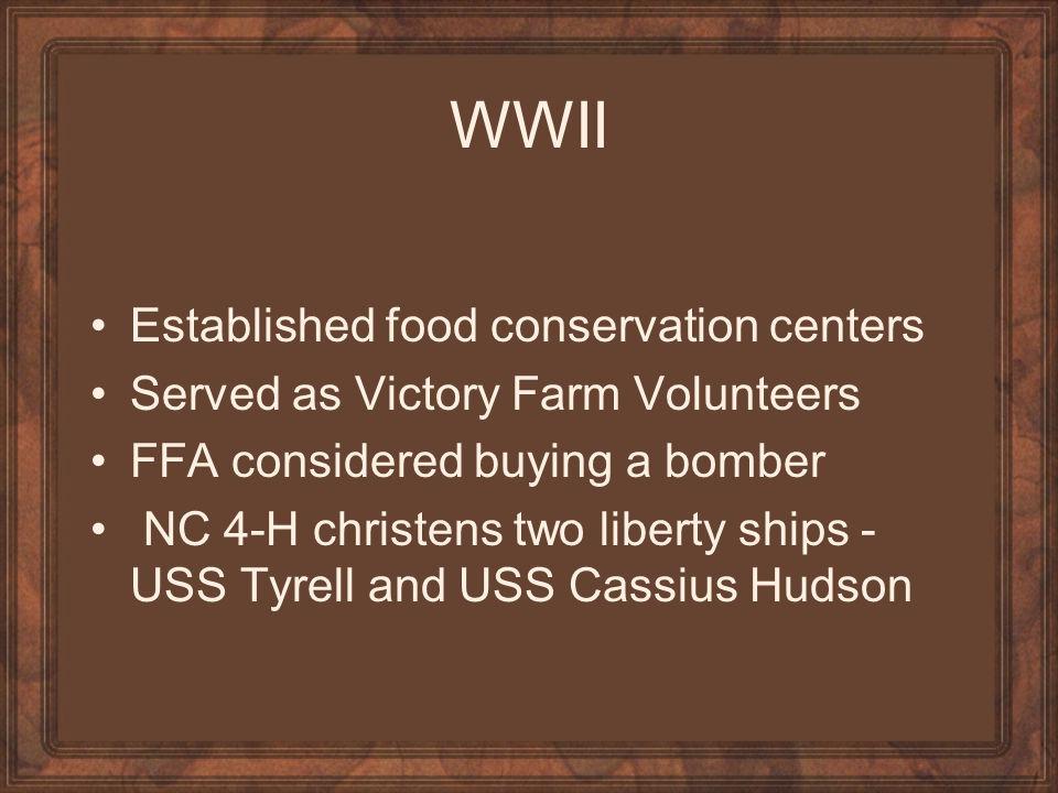 WWII Established food conservation centers