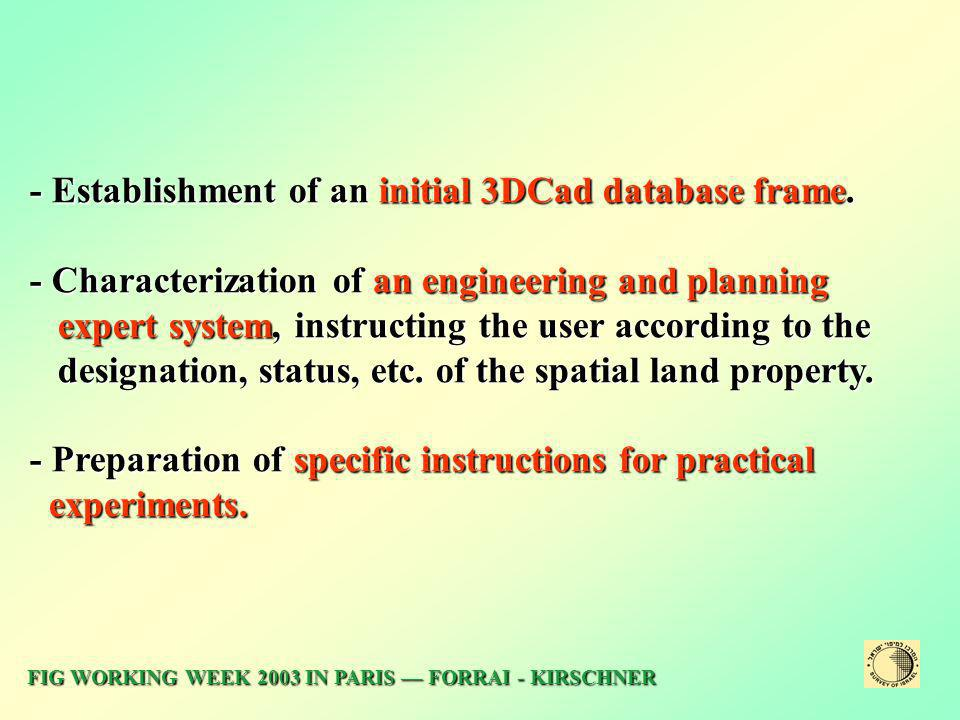 - Establishment of an initial 3DCad database frame.