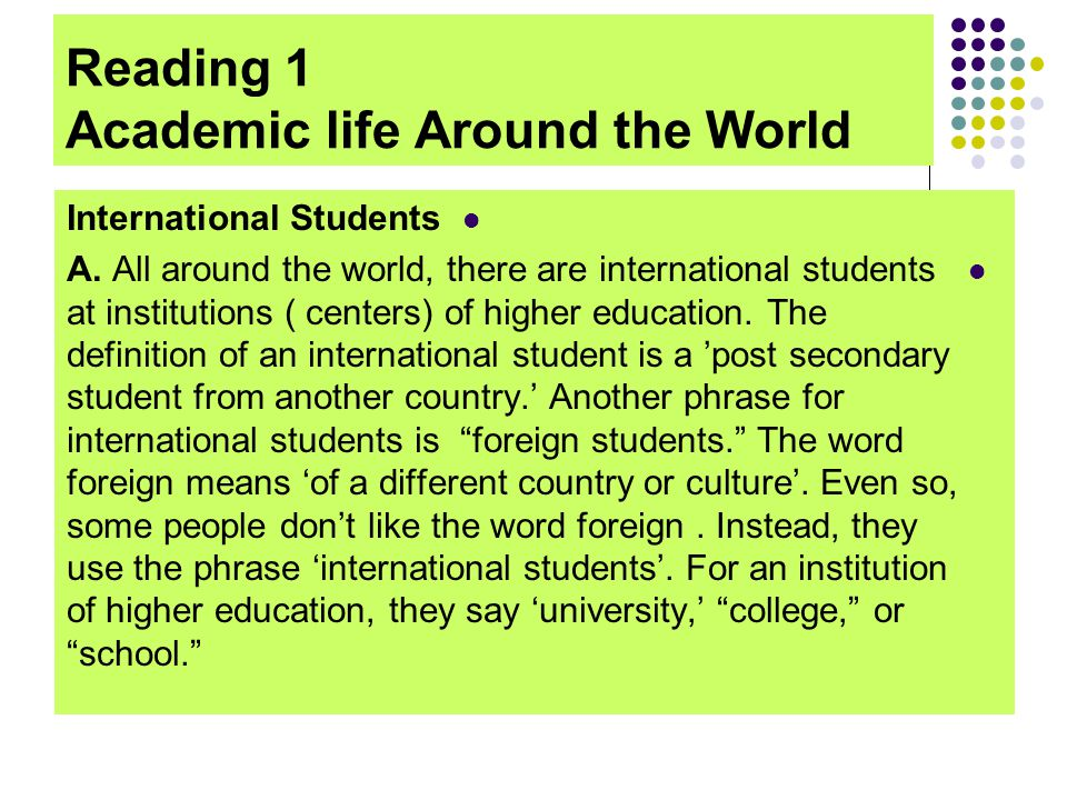Reading 1 Academic life Around the World