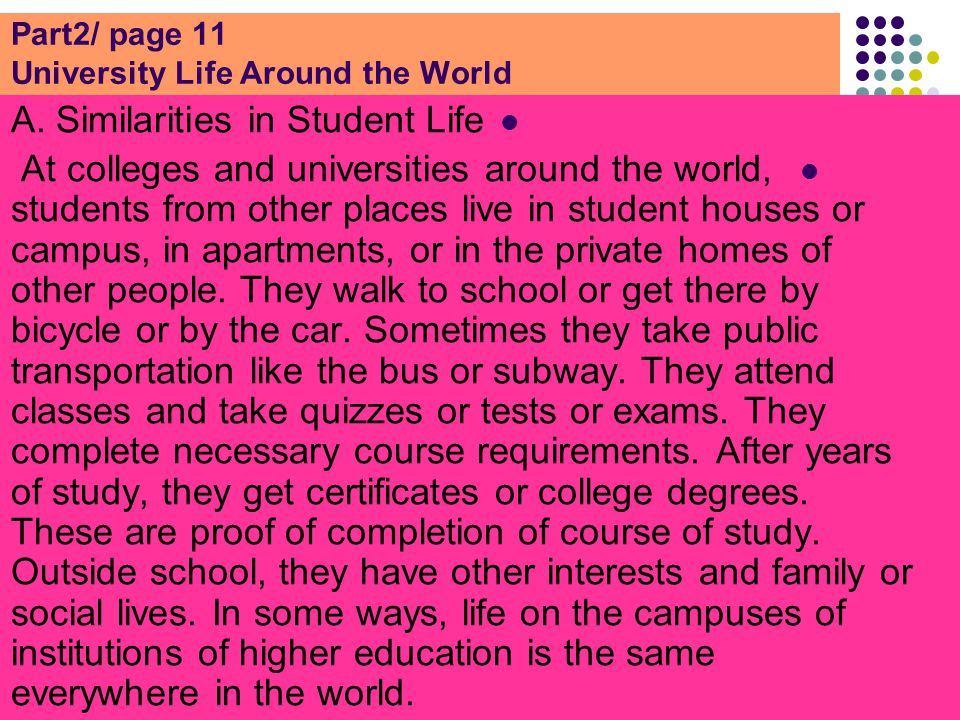 Part2/ page 11 University Life Around the World