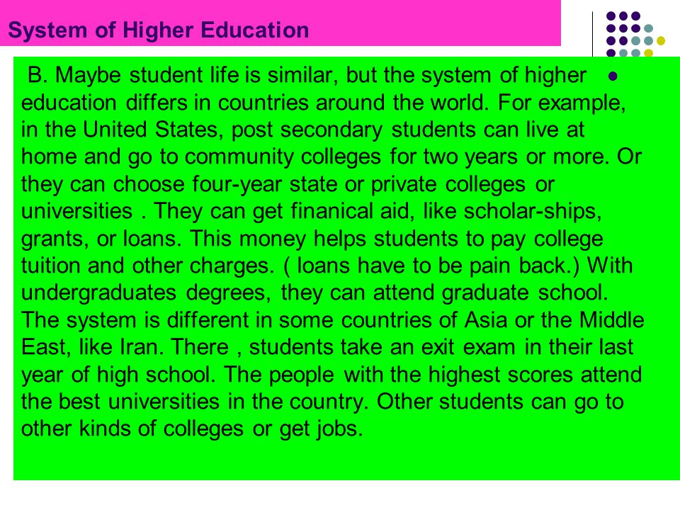 System of Higher Education