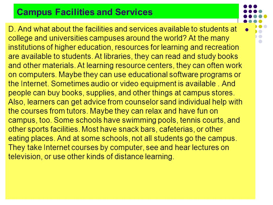 Campus Facilities and Services