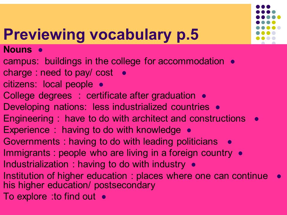 Previewing vocabulary p.5