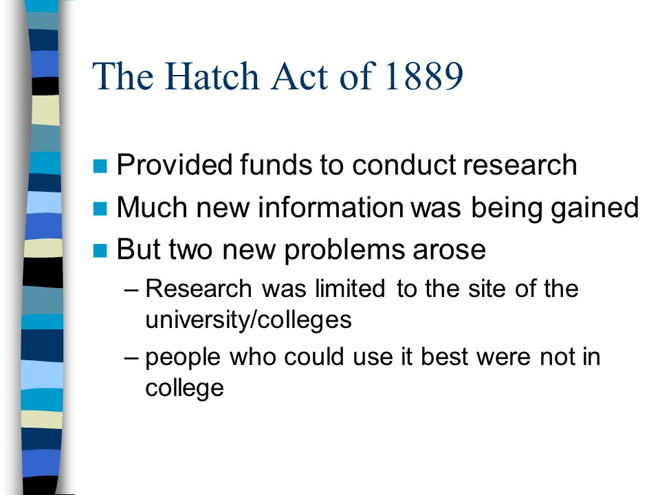 The Hatch Act of 1889 Provided funds to conduct research