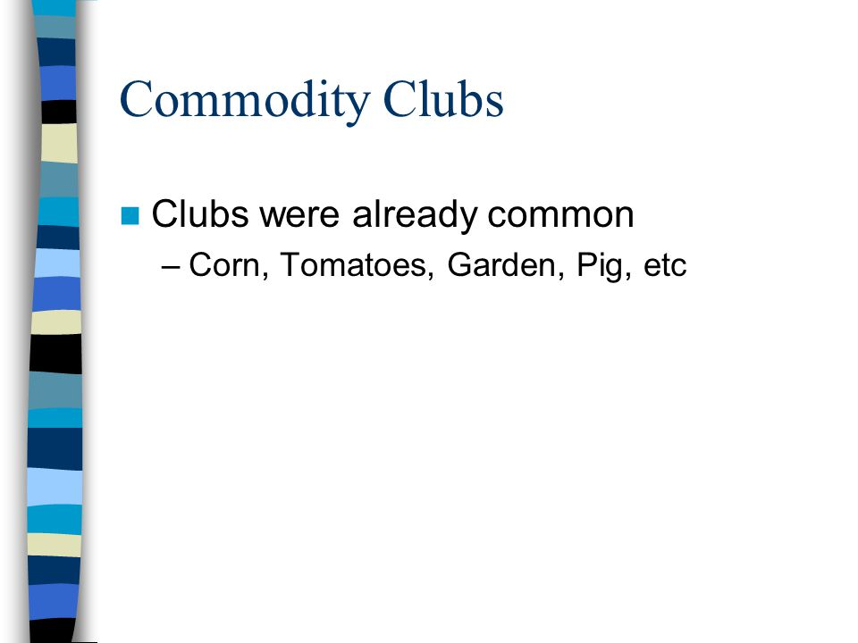 Commodity Clubs Clubs were already common