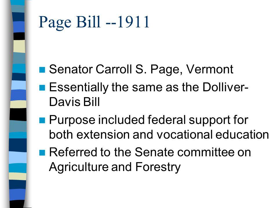 Page Bill --1911 Senator Carroll S. Page, Vermont