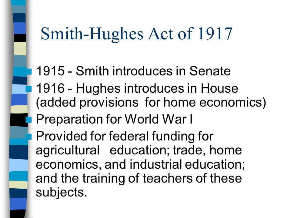 Smith-Hughes Act of 1917 1915 - Smith introduces in Senate