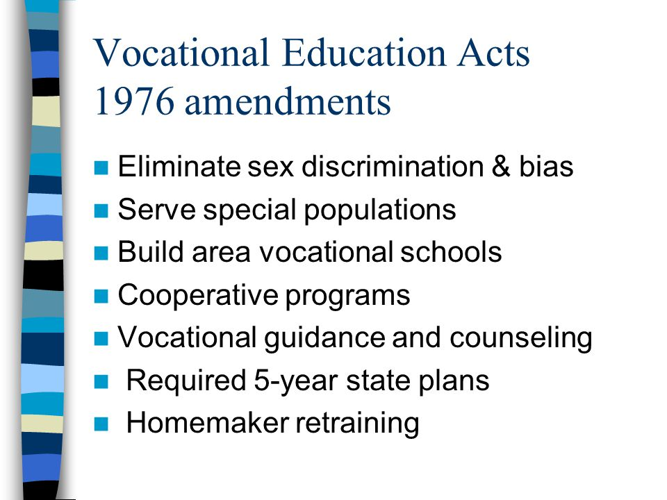 Vocational Education Acts 1976 amendments
