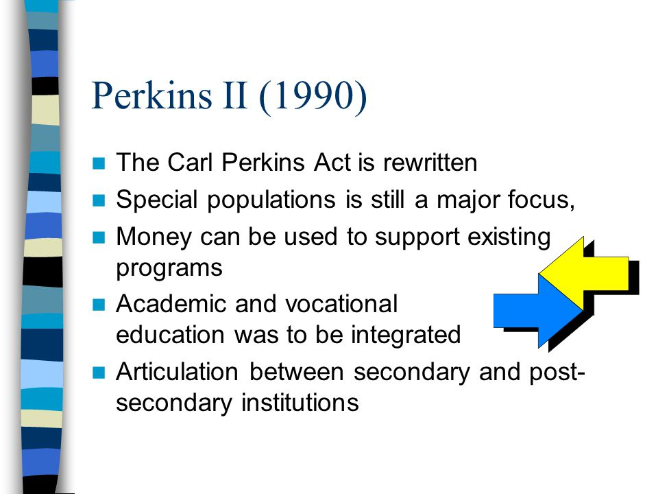 Perkins II (1990) The Carl Perkins Act is rewritten