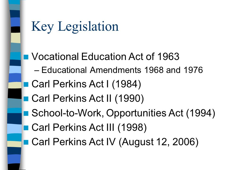 Key Legislation Vocational Education Act of 1963