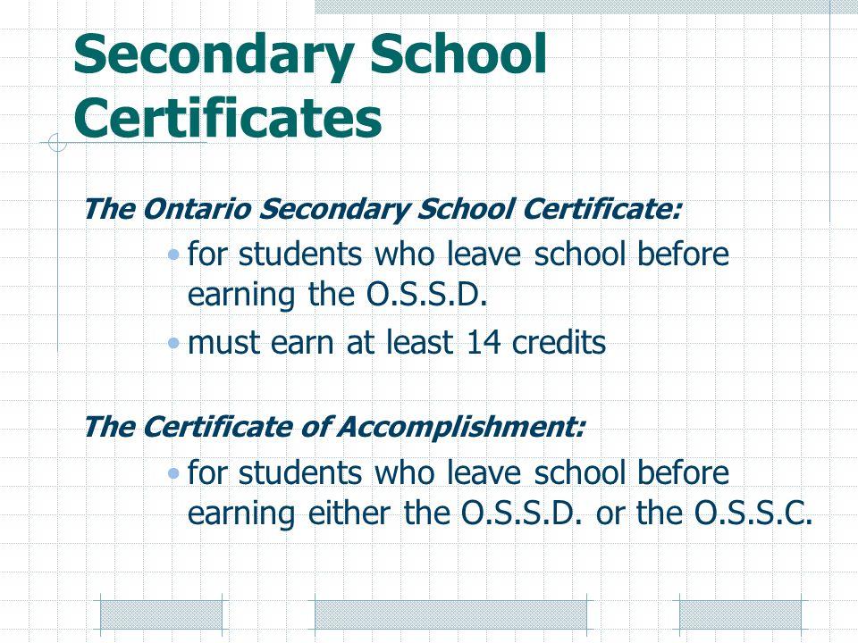 Secondary School Certificates