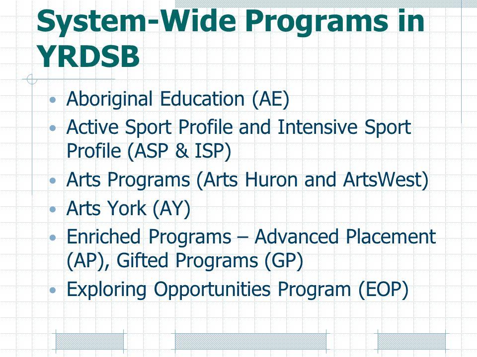 System-Wide Programs in YRDSB