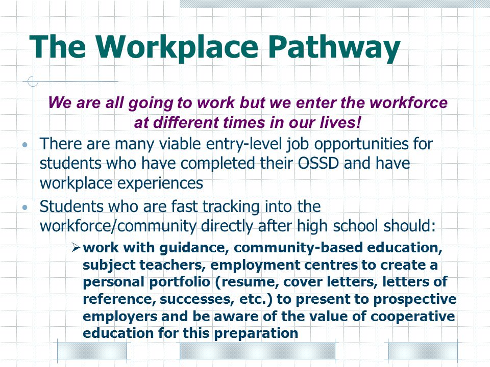The Workplace Pathway We are all going to work but we enter the workforce at different times in our lives!