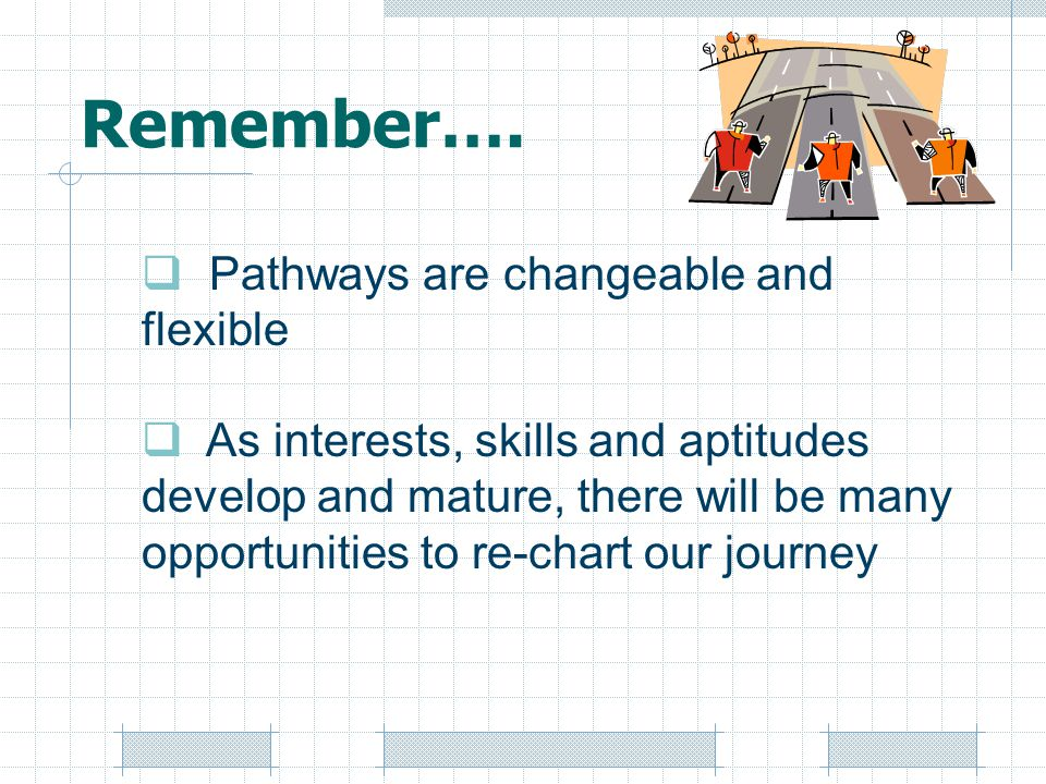 Remember…. Pathways are changeable and flexible