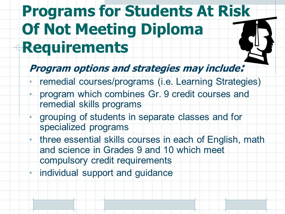 Programs for Students At Risk Of Not Meeting Diploma Requirements