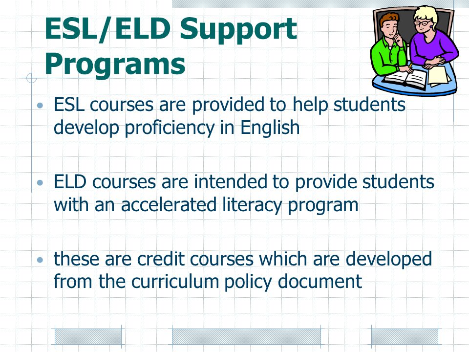 ESL/ELD Support Programs