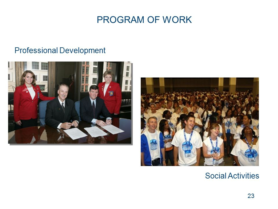 PROGRAM OF WORK Professional Development Social Activities