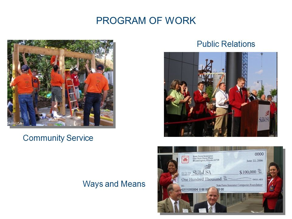 PROGRAM OF WORK Public Relations Community Service Ways and Means