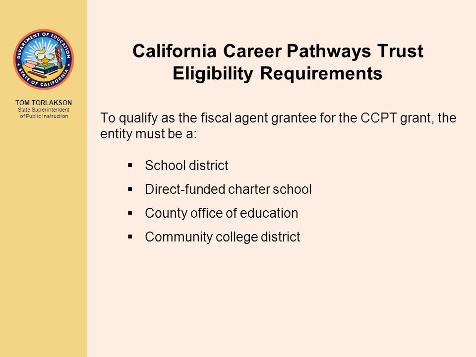 California Career Pathways Trust Eligibility Requirements