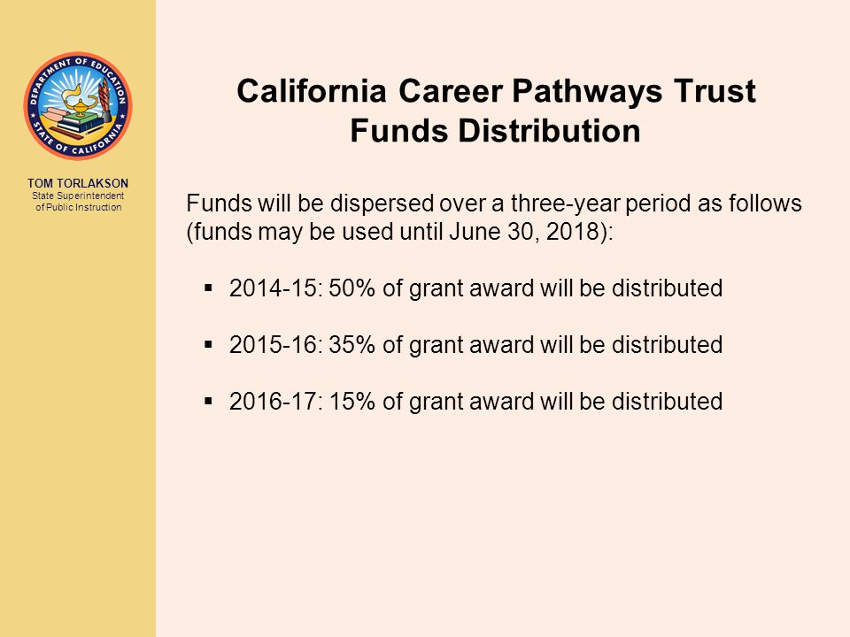 California Career Pathways Trust Funds Distribution