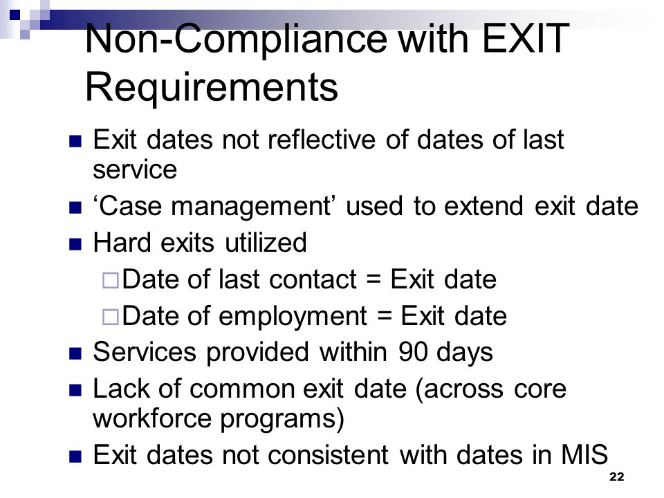 Non-Compliance with EXIT Requirements
