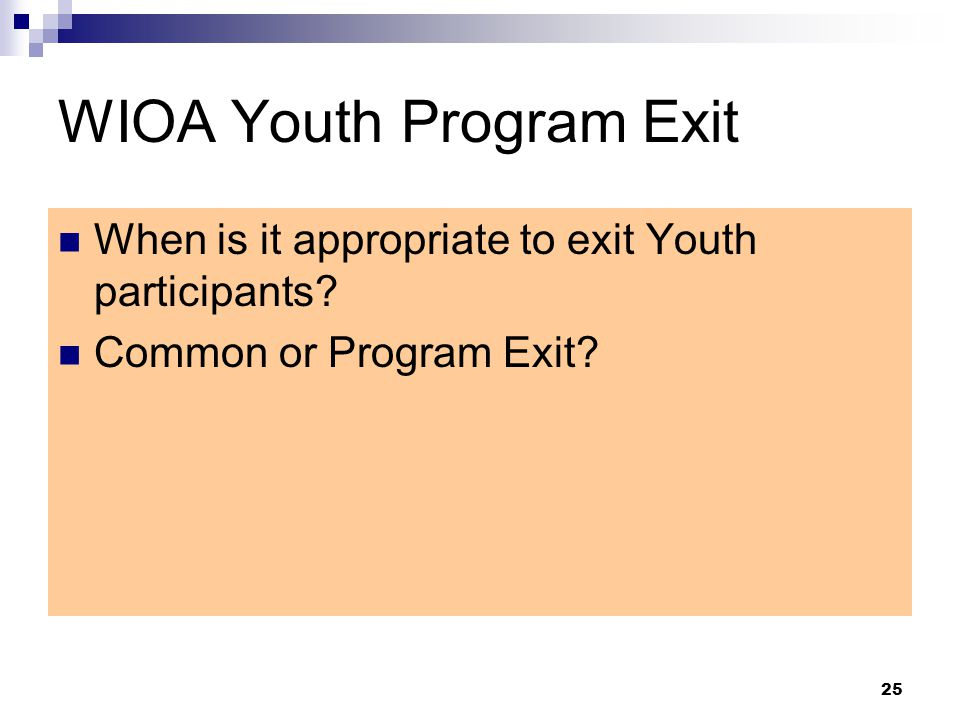 WIOA Youth Program Exit