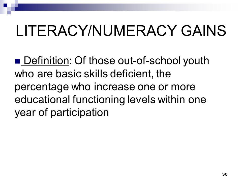 LITERACY/NUMERACY GAINS