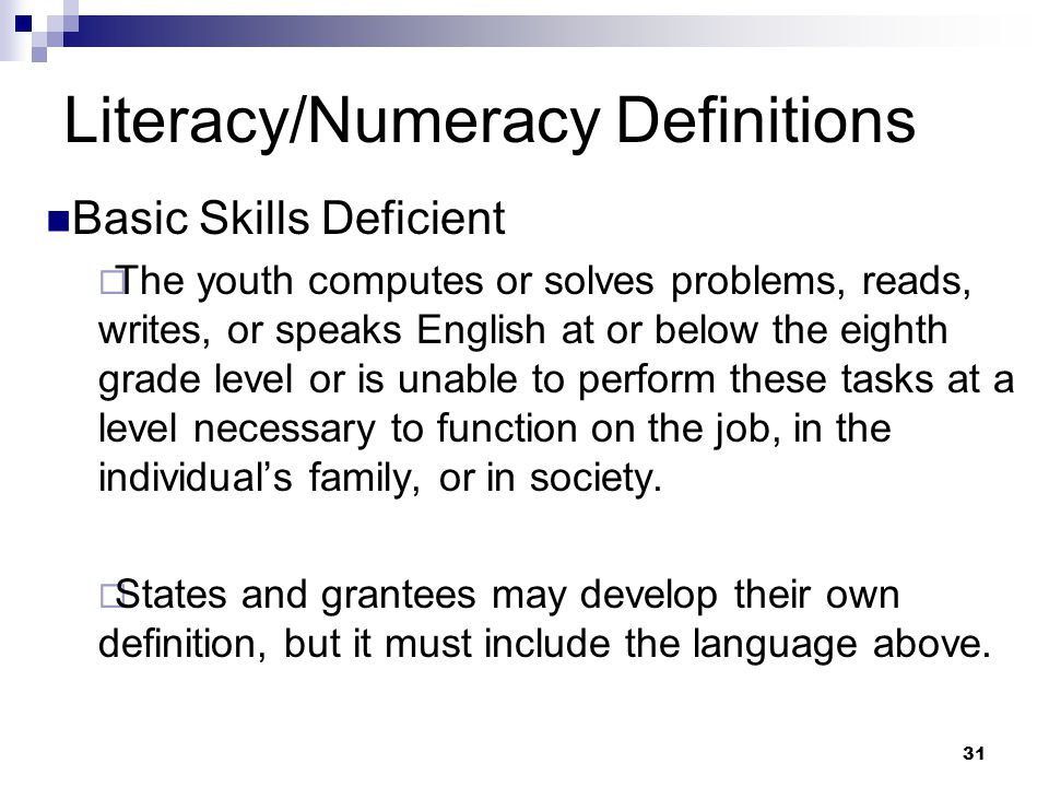 Literacy/Numeracy Definitions