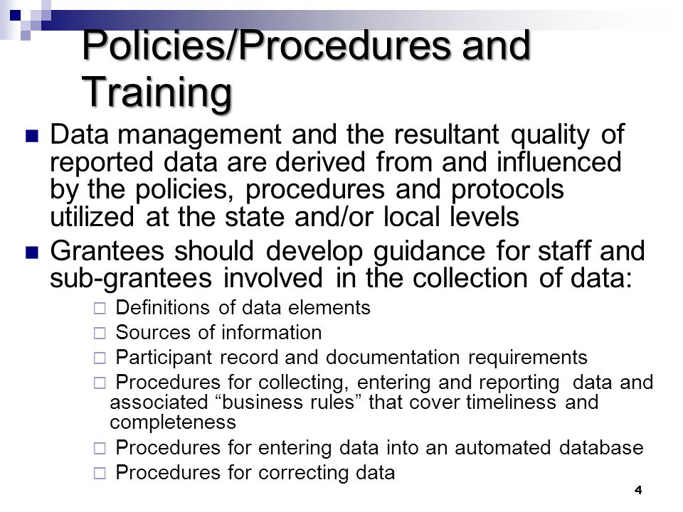 Policies/Procedures and Training
