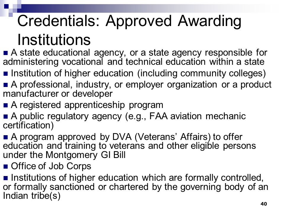Credentials: Approved Awarding Institutions