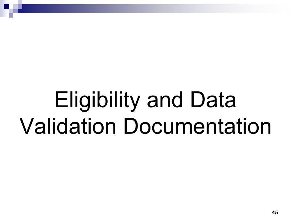 Eligibility and Data Validation Documentation