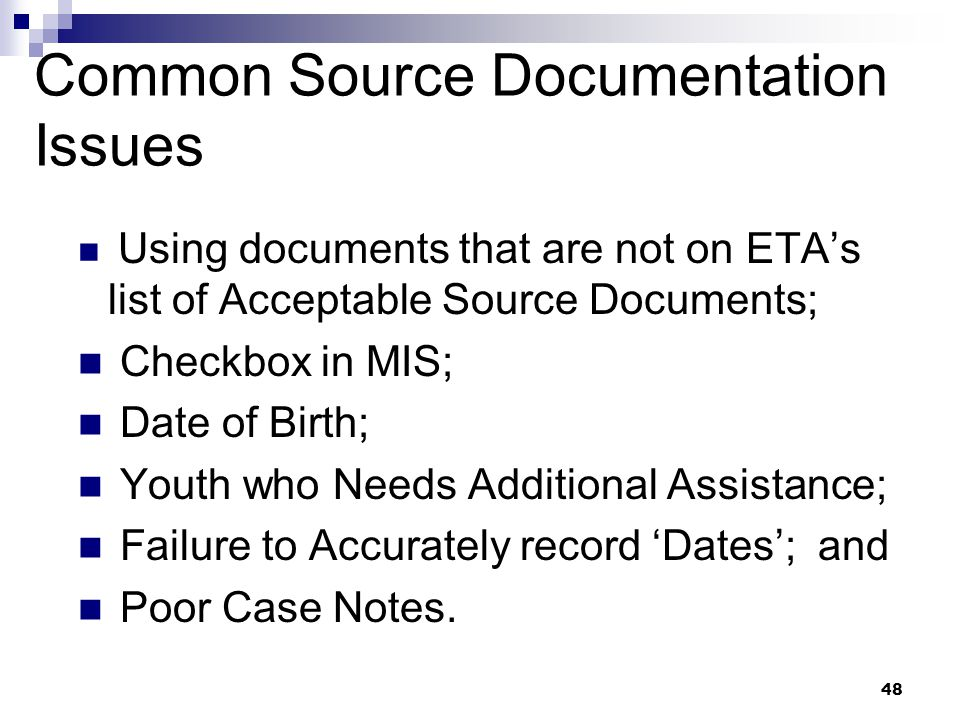 Common Source Documentation Issues