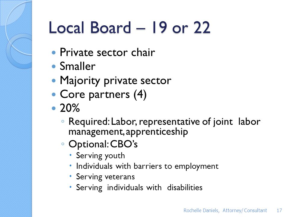 Local Board – 19 or 22 Private sector chair Smaller