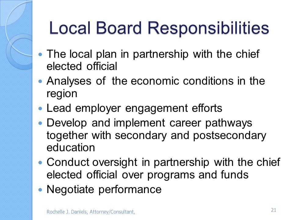 Local Board Responsibilities