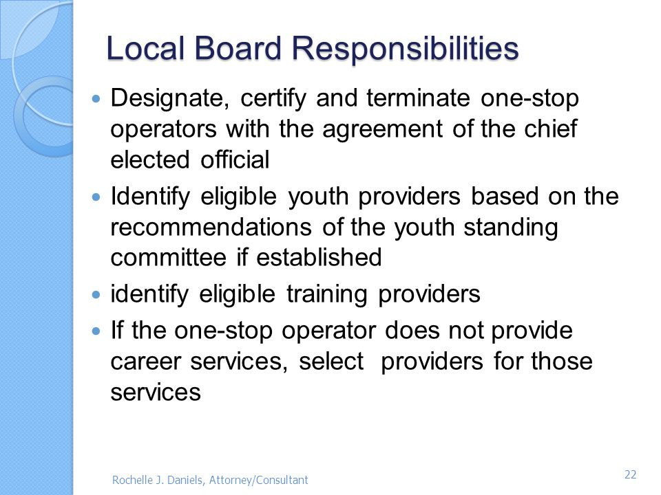 Local Board Responsibilities