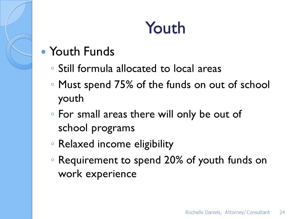 Youth Youth Funds Still formula allocated to local areas