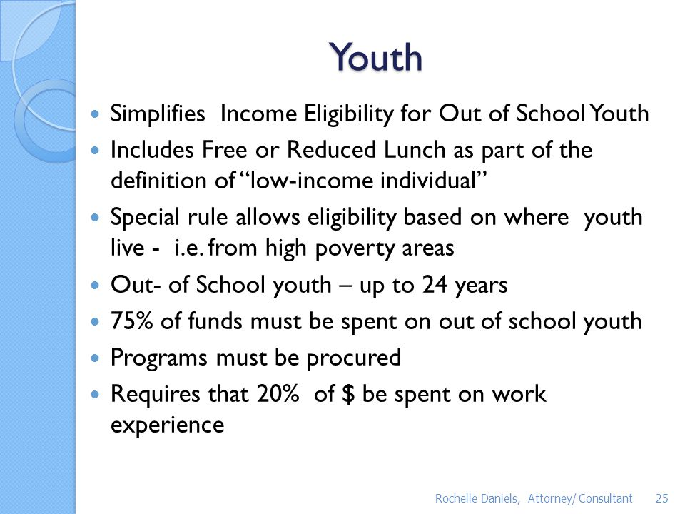 Youth Simplifies Income Eligibility for Out of School Youth