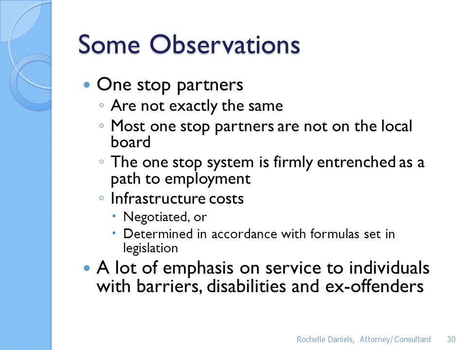 Some Observations One stop partners