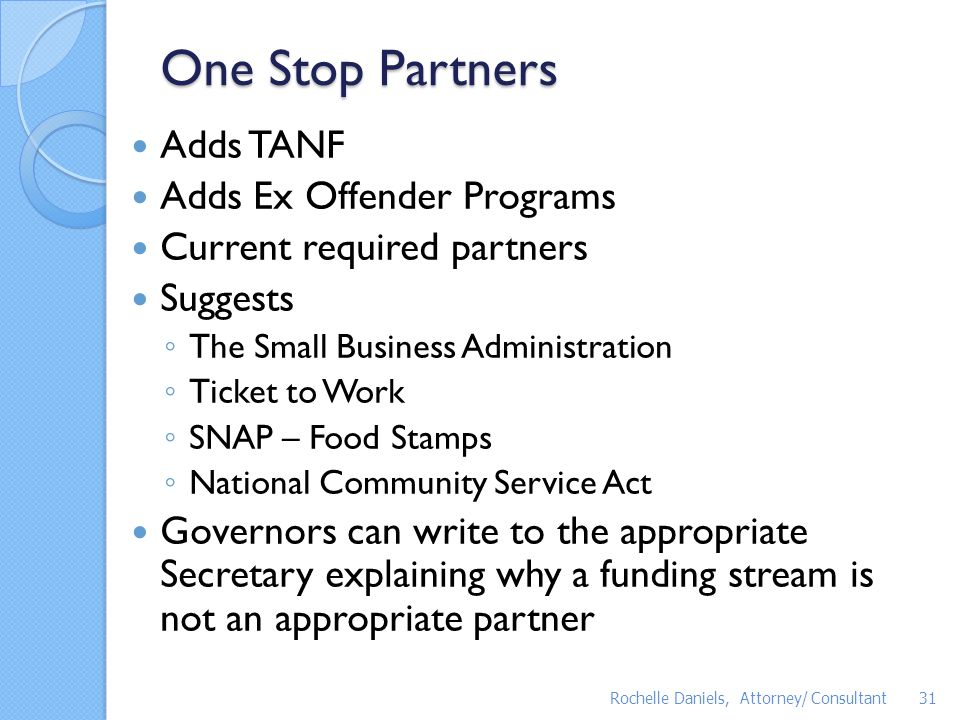 One Stop Partners Adds TANF Adds Ex Offender Programs