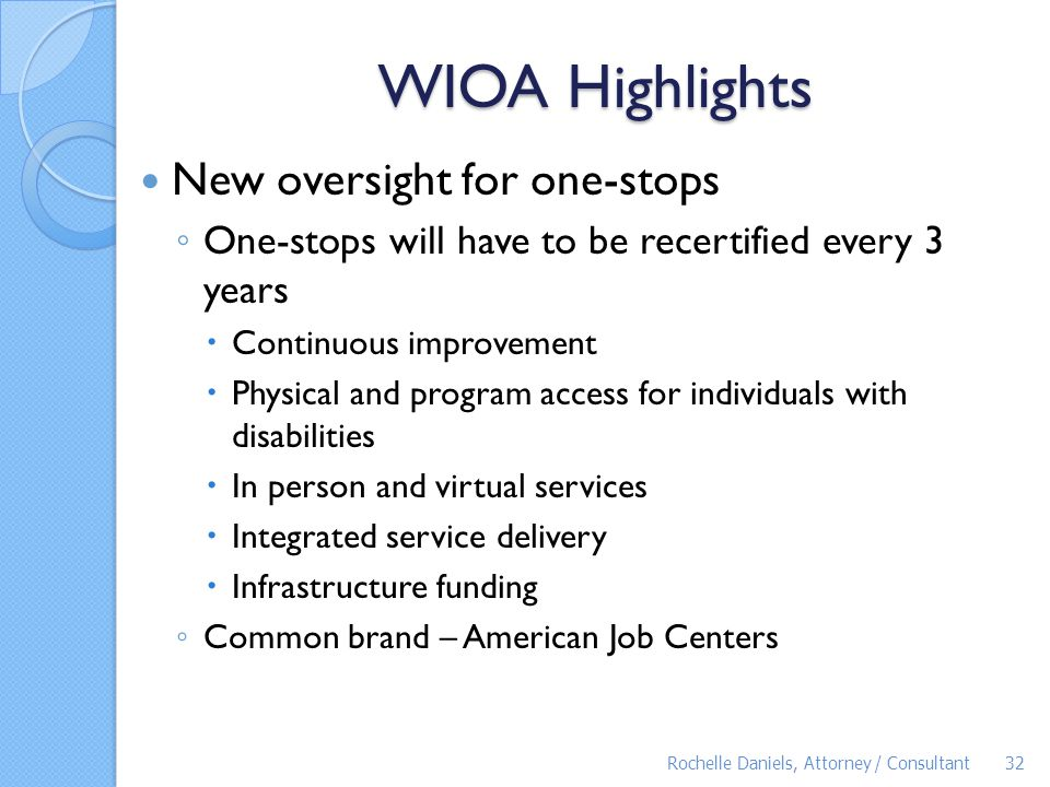 WIOA Highlights New oversight for one-stops