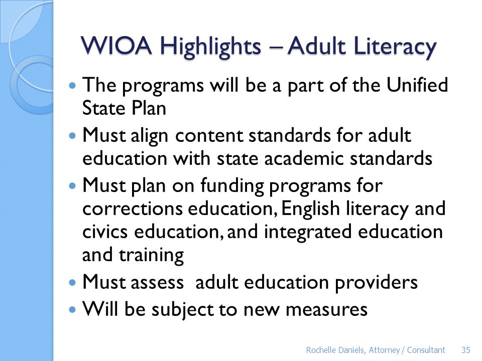 WIOA Highlights – Adult Literacy