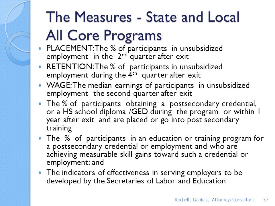 The Measures - State and Local All Core Programs