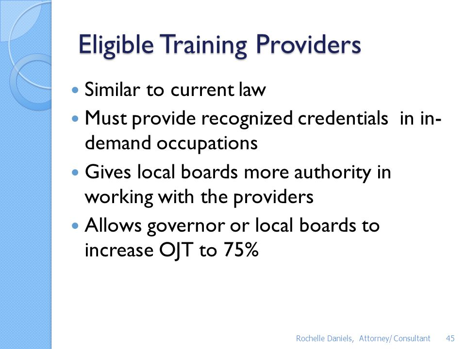 Eligible Training Providers