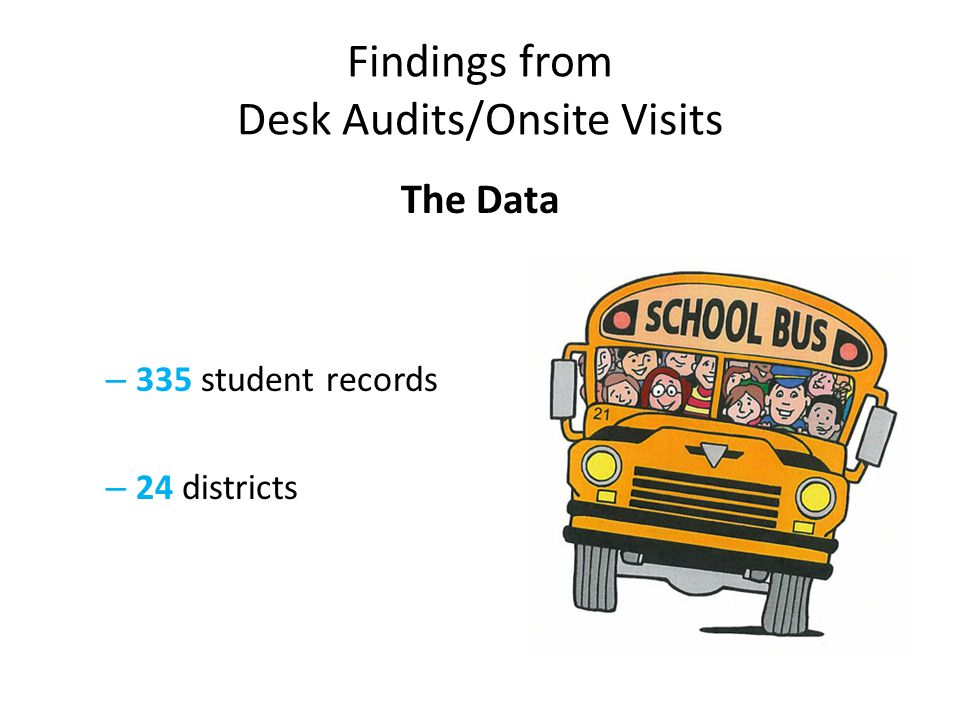 Findings from Desk Audits/Onsite Visits