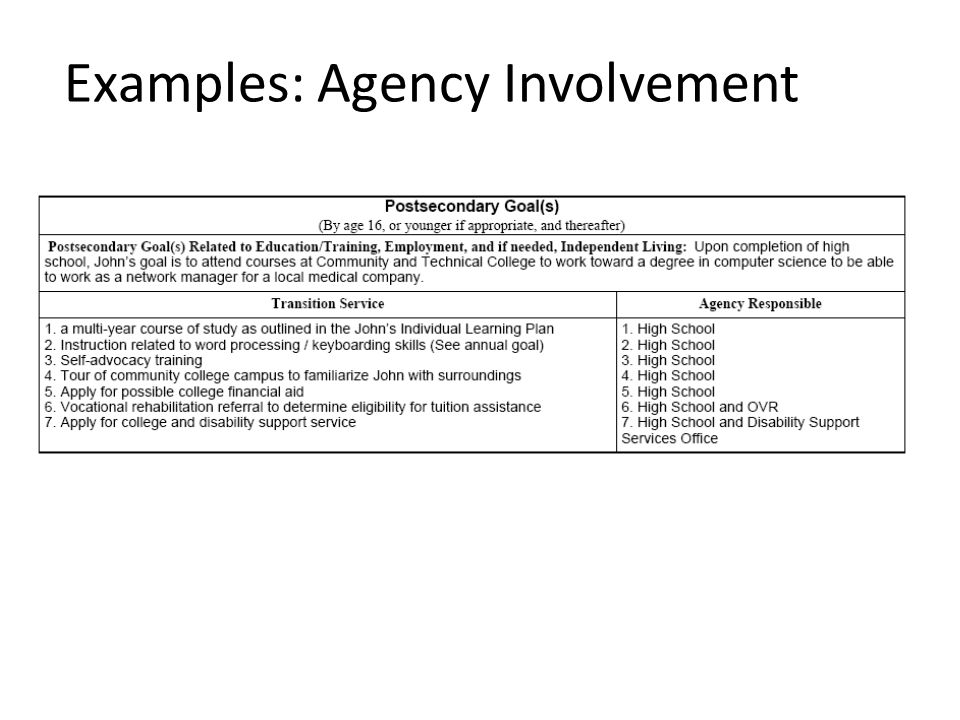 Examples: Agency Involvement